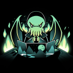 Dungeon Monster t-shirt TeeTurtle black t-shirt featuring a green winged Cthulu-humanoid dressed in a cloak menacingly rubbing his tentacles together behind a dungeon master's screen with a mountain landscape pattern and there's bright green flames in the background.