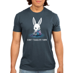 Don't Touch My Yarn Men's t-shirt model TeeTurtle denim blue t-shirt featuring an angry white bunny sitting down and protectively holding onto a pile of blue and purple yarn.