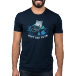 Best Day Ever Men's t-shirt model TeeTurtle navy t-shirt featuring a cat in a bean bag chair holding a portal video game with snacks and books around him