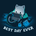 Best Day Ever t-shirt TeeTurtle navy t-shirt featuring a cat in a bean bag chair holding a portal video game with snacks and books around him