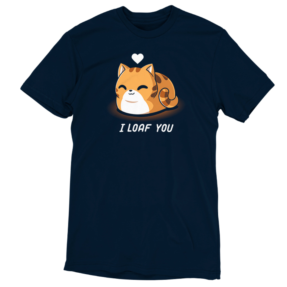 I Loaf You t-shirt TeeTurtle navy t-shirt featuring a smiling orange tabby cat sitting down with its tail curled around it and its paws tucked underneath it with a white heart floating above its head.