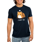 I Loaf You Men's t-shirt model TeeTurtle navy t-shirt featuring a smiling orange tabby cat sitting down with its tail curled around it and its paws tucked underneath it with a white heart floating above its head.