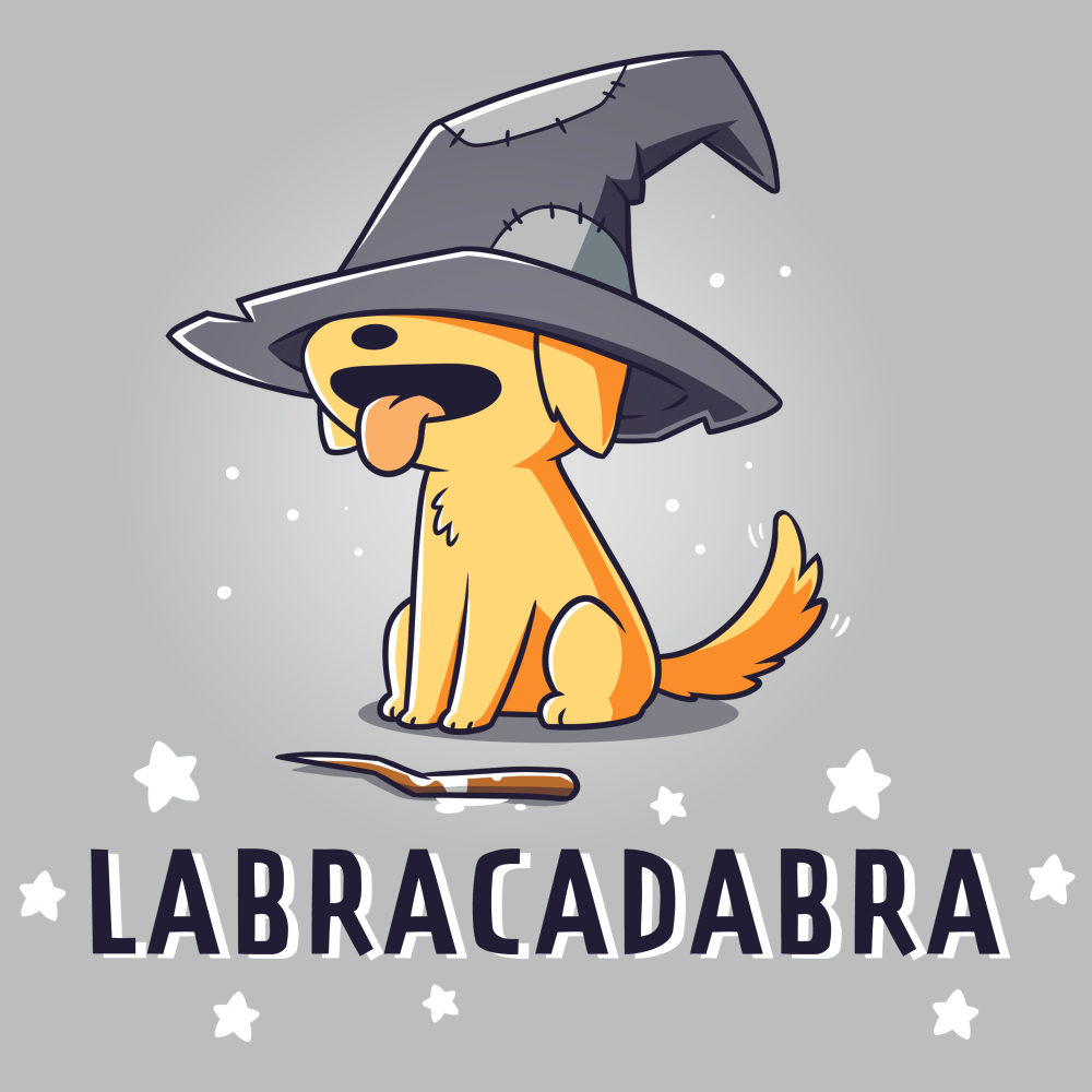 Labracadabra t-shirt TeeTurtle silver t-shirt featuring a yellow lab smiling with its tongue out wearing a bit witch hat covering its eyes with a stick in front of him and stars all around him