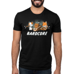Bardcore Men's t-shirt model TeeTurtle black t-shirt featuring a cat, squirrel, and fox all rocking out with instruments