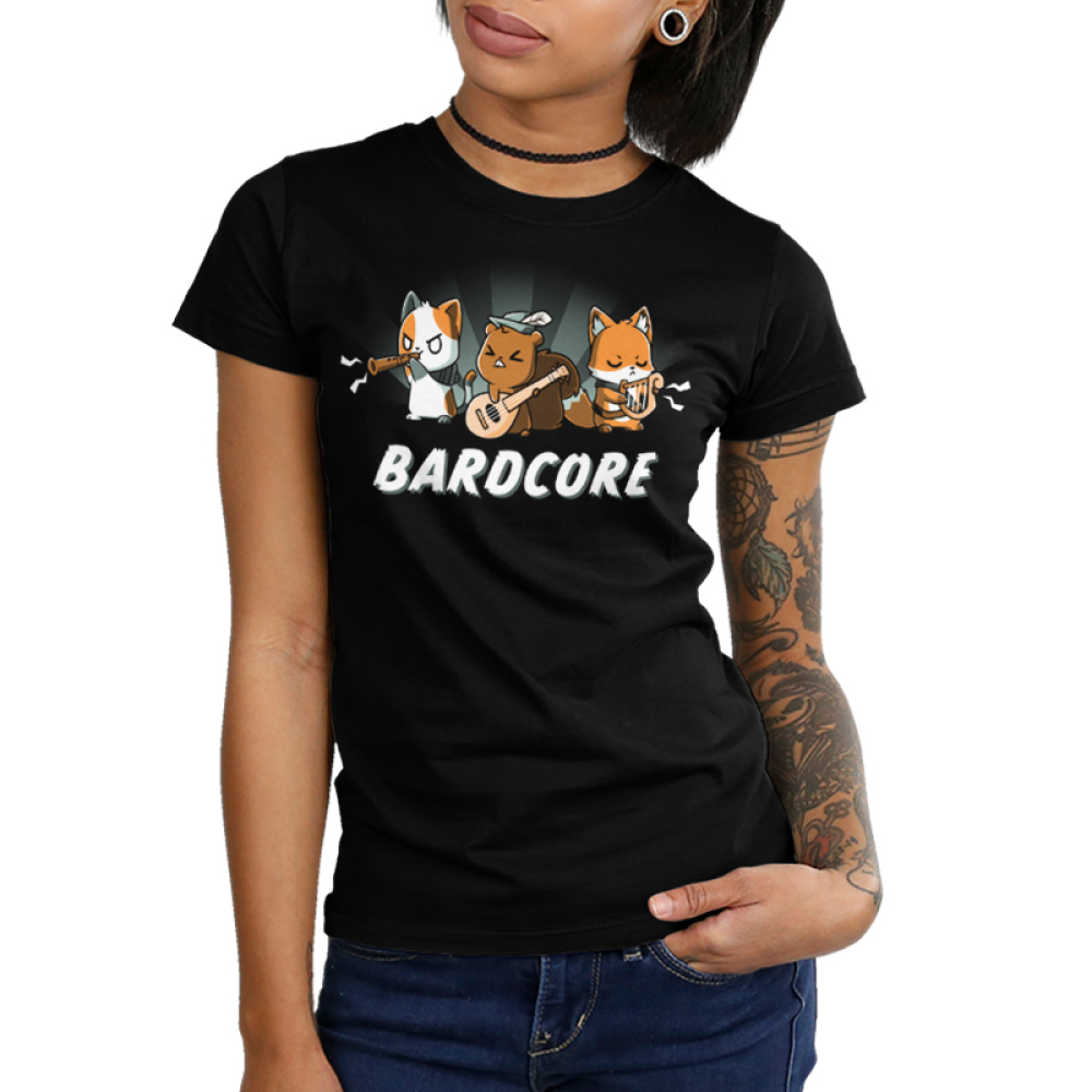 Bardcore Junior's t-shirt model TeeTurtle black t-shirt featuring a cat, squirrel, and fox all rocking out with instruments