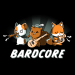 Bardcore t-shirt TeeTurtle black t-shirt featuring a cat, squirrel, and fox all rocking out with instruments