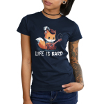 Life is Bard Junior's t-shirt model TeeTurtle navy t-shirt holding a guitar with a broken string looking sad