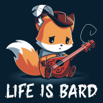 Life is Bard t-shirt TeeTurtle navy t-shirt holding a guitar with a broken string looking sad