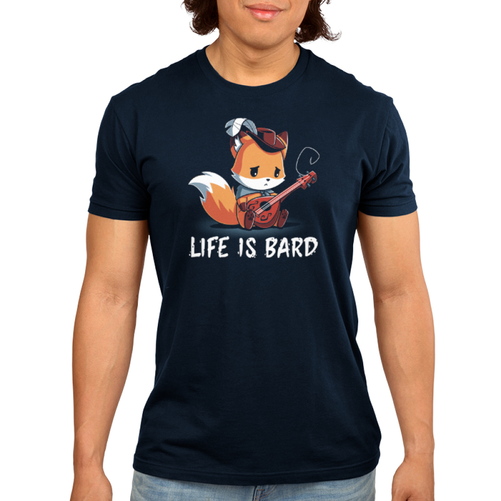 Life is Bard Men's t-shirt model TeeTurtle navy t-shirt holding a guitar with a broken string looking sad
