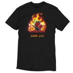 Bard Life t-shirt TeeTurtle black t-shirt featuring a squirrel playing a guitar with a big fire behind him with houses on fire and other squirrels running and screaming