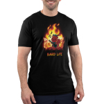 Bard Life Men's t-shirt model TeeTurtle black t-shirt featuring a squirrel playing a guitar with a big fire behind him with houses on fire and other squirrels running and screaming
