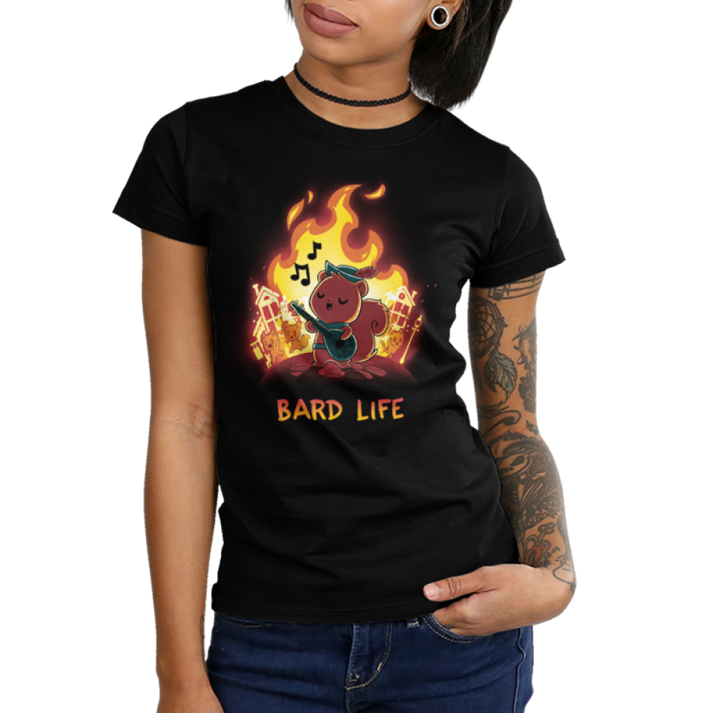 Bard Life Junior's t-shirt model TeeTurtle black t-shirt featuring a squirrel playing a guitar with a big fire behind him with houses on fire and other squirrels running and screaming