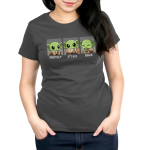 Protect, Attack, Snack Women's t-shirt model TeeTurtle charcoal t-shirt featuring The Child from The Mandalorian in three poses: a protective stance where he's holding his hands together, an aggressive stance where he's holding out one hand, and a snacking stance where he's happily holding a frog.