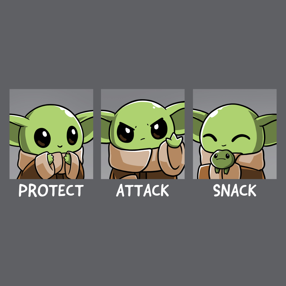 Protect, Attack, Snack t-shirt TeeTurtle charcoal t-shirt featuring The Child from The Mandalorian in three poses: a protective stance where he's holding his hands together, an aggressive stance where he's holding out one hand, and a snacking stance where he's happily holding a frog.