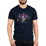The Mandalorians Men's t-shirt model officially licensed navy Star Wars t-shirt featuring Mando holding The Child with other Mandalorians flying behind them shooting guns