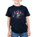 The Mandalorians Kid's t-shirt model officially licensed navy Star Wars t-shirt featuring Mando holding The Child with other Mandalorians flying behind them shooting guns