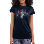 The Mandalorians Junior's t-shirt model officially licensed navy Star Wars t-shirt featuring Mando holding The Child with other Mandalorians flying behind them shooting guns