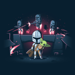 The Mandalorians t-shirt officially licensed navy Star Wars t-shirt featuring Mando holding The Child with other Mandalorians flying behind them shooting guns
