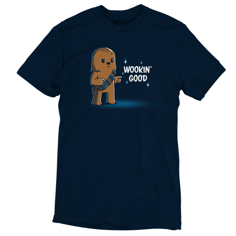 Wookin' Good t-shirt officially licensed navy Star Wars t-shirt featuring a smiling, suave Chewbacca from the Star Wars Sequel Trilogy doing finger guns with one eyebrow raised and one eyebrow lowered