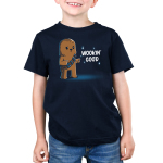 Wookin' Good Kid's t-shirt model officially licensed navy Star Wars t-shirt featuring a smiling, suave Chewbacca from the Star Wars Sequel Trilogy doing finger guns with one eyebrow raised and one eyebrow lowered.