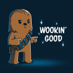 Wookin' Good t-shirt officially licensed navy Star Wars t-shirt featuring a smiling, suave Chewbacca from the Star Wars Sequel Trilogy doing finger guns with one eyebrow raised and one eyebrow lowered.