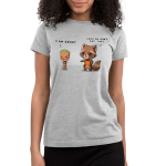 Rocket & Groot Junior's t-shirt model officially licensed silver Marvel t-shirt featuring Rocket Raccoon and Groot from Guardians of the Galaxy with a toddler-sized, angrily pouting Groot standing to the righthand side with his arms crossed and a concerned Rocket Raccoon standing to the lefthand side reaching out to Groot.