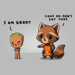 Rocket & Groott-shirt officially licensed silver Marvel t-shirt featuring Rocket Raccoon and Groot from Guardians of the Galaxy with a toddler-sized, angrily pouting Groot standing to the righthand side with his arms crossed and a concerned Rocket Raccoon standing to the lefthand side reaching out to Groot.