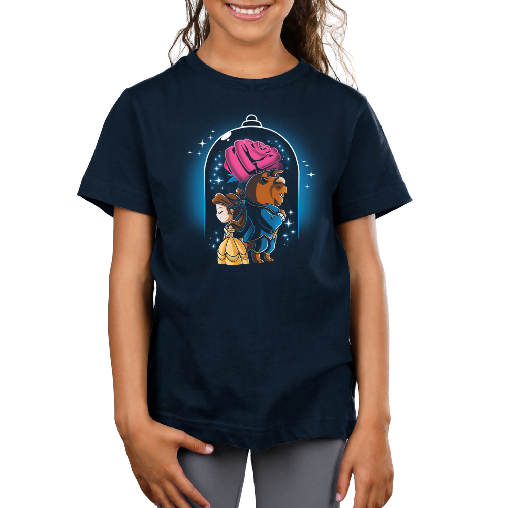 Beauty and The Beast Kid's t-shirt model officially licensed navy Disney t-shirt featuring Belle in her yellow dress back to back with the Beast in his blue suit with a big rose behind them