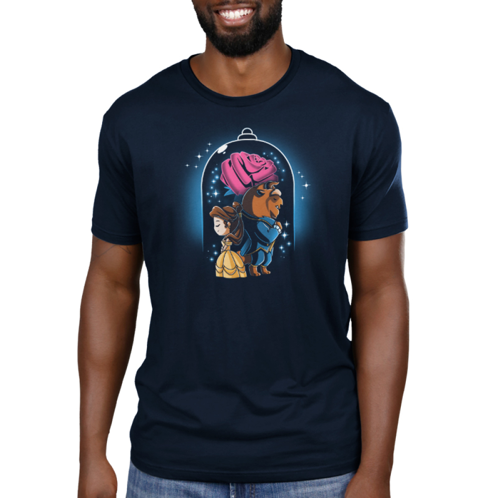 Beauty and The Beast Men's t-shirt model officially licensed navy Disney t-shirt featuring Belle in her yellow dress back to back with the Beast in his blue suit with a big rose behind them