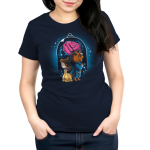 Beauty and The Beast Women's t-shirt model officially licensed navy Disney t-shirt featuring Belle in her yellow dress back to back with the Beast in his blue suit with a big rose behind them