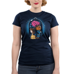 Beauty and The Beast Junior's t-shirt model officially licensed navy Disney t-shirt featuring Belle in her yellow dress back to back with the Beast in his blue suit with a big rose behind them