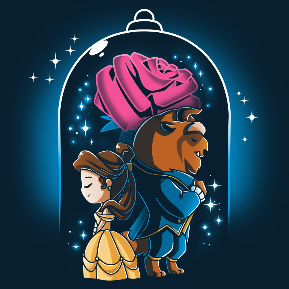 Beauty and The Beast t-shirt officially licensed navy Disney t-shirt featuring Belle in her yellow dress back to back with the Beast in his blue suit with a big rose behind them