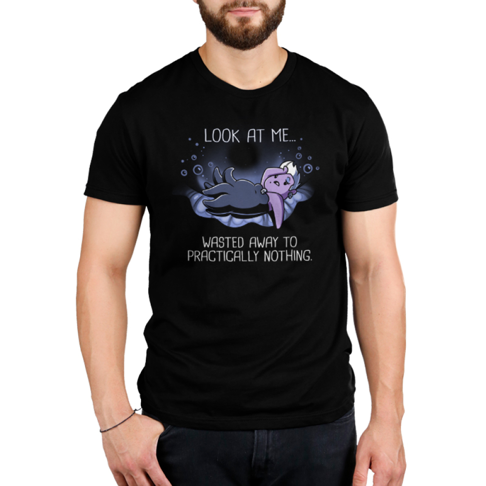 Wasted Away to Practically Nothing Men's t-shirt model officially licensed black Disney t-shirt featuring Ursula laying on a big shell with her arm on her forehead with bubbles around her