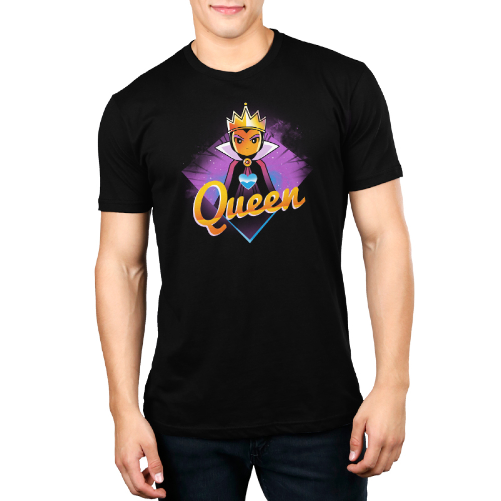Evil Queen Men's t-shirt model TeeTurtle charcoal t-shirt featuring the Evil Queen Grimhilde from Snow White and the Seven Dwarves with a blue heart on the center of her chest with a purple diamond background.