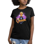 Evil Queen Women's t-shirt model TeeTurtle charcoal t-shirt featuring the Evil Queen Grimhilde from Snow White and the Seven Dwarves with a blue heart on the center of her chest with a purple diamond background.