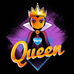 Evil Queen t-shirt TeeTurtle black t-shirt featuring the Evil Queen Grimhilde from Snow White and the Seven Dwarves with a blue heart on the center of her chest with a purple diamond background.