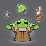 The Child Levitation t-shirt officially licensed charcoal Star Wars t-shirt featuring The Child smiling and holding up its arms, making the metal ball from the Razor Crest, a frog, and a brown bowl of soup levitate above its head.