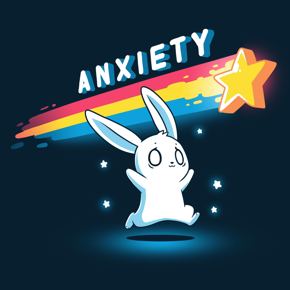 Anxious Bunny t-shirt TeeTurtle navy t-shirt featuring a panicked looking white bunny running after a yellow star with a rainbow tail trailing behind it