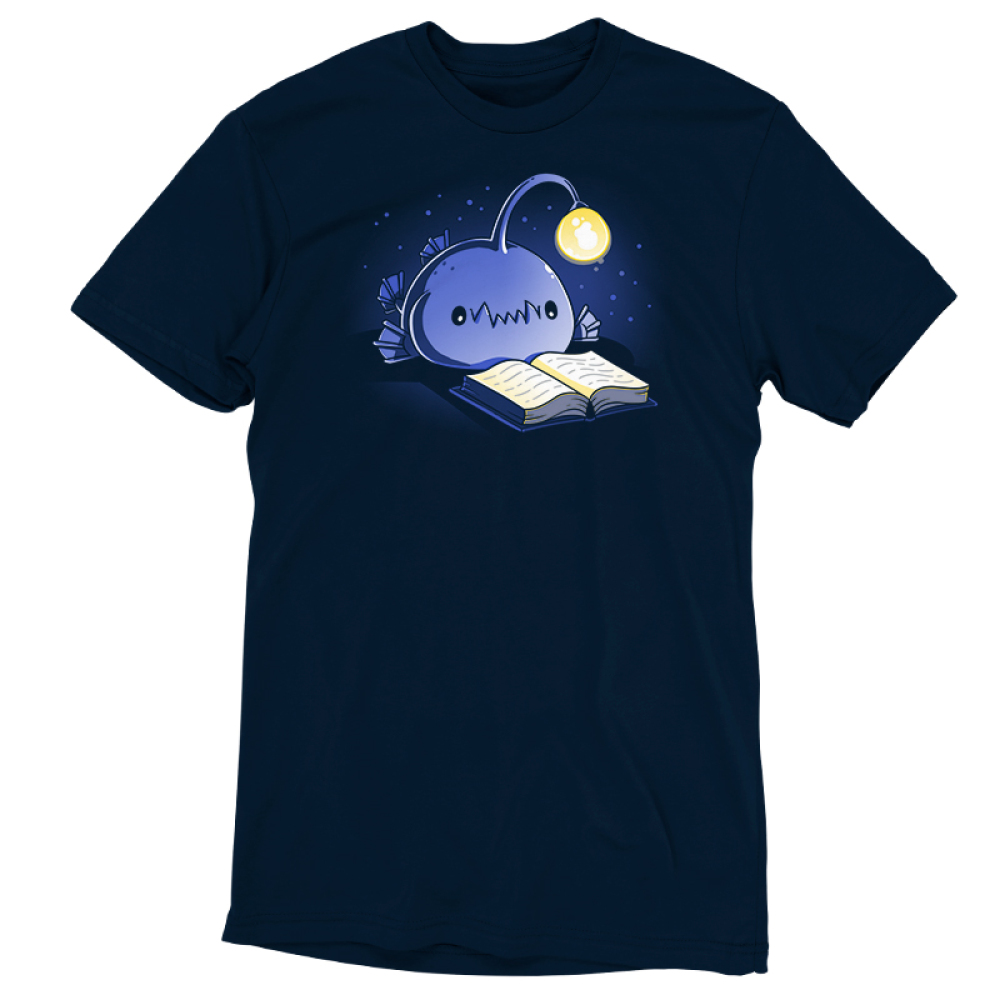 Reading Anglerfish t-shirt TeeTurtle navy t-shirt featuring a blue anglerfish with its light glowing reading a book