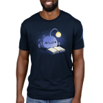 Reading Anglerfish Men's t-shirt model TeeTurtle navy t-shirt featuring a blue anglerfish with its light glowing reading a book