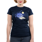 Reading Anglerfish Junior's t-shirt model TeeTurtle navy t-shirt featuring a blue anglerfish with its light glowing reading a book