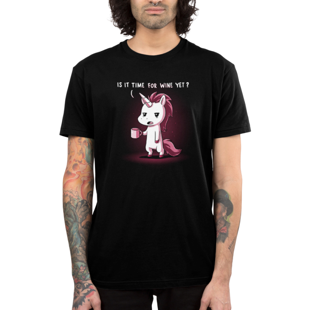 Is It Time for Wine Yet? Men's t-shirt model TeeTurtle black t-shirt featuring a white unicorn with burgundy colored hair looking tired with a mug in its hand