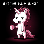 Is It Time for Wine Yet? t-shirt TeeTurtle black t-shirt featuring a white unicorn with burgundy colored hair looking tired with a mug in its hand