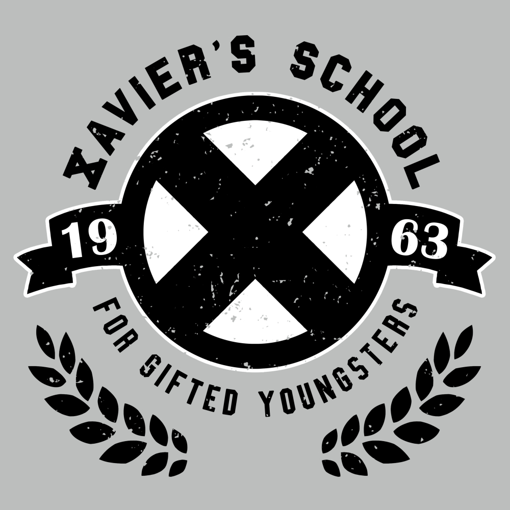 Xavier's School for Gifted Youngsters t-shirt officially licensed silver Marvel t-shirt featuring a black X in a black circle with two separate ends of a banner on the sides, and black laurel leaves cupping the bottom of the circle.
