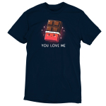 You Love Me t-shirt TeeTurtle navy t-shirt featuring a chocolate bar with the wrapper rolled down 2/3rds the way down with a cute smiling face on the wrapper and sparkles behind it