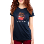 You Love Me Women's t-shirt model TeeTurtle navy t-shirt featuring a chocolate bar with the wrapper rolled down 2/3rds the way down with a cute smiling face on the wrapper and sparkles behind it