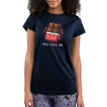 You Love Me Junior's t-shirt model TeeTurtle navy t-shirt featuring a chocolate bar with the wrapper rolled down 2/3rds the way down with a cute smiling face on the wrapper and sparkles behind it
