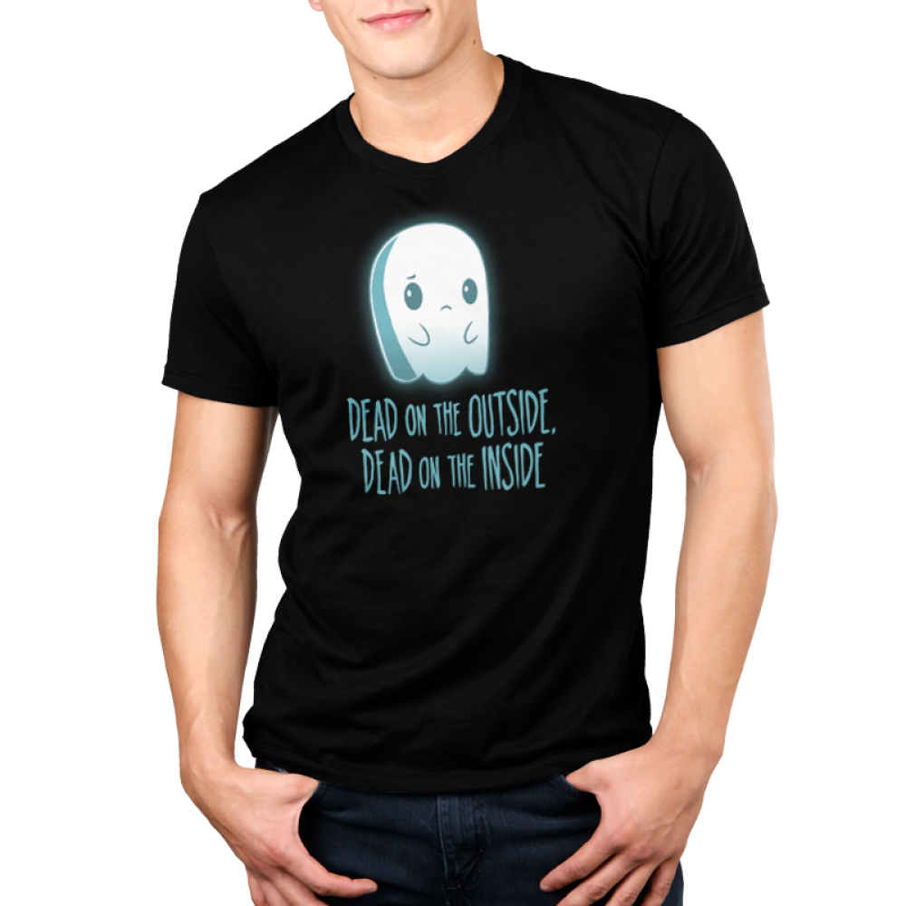 Dead on the Inside Men's t-shirt model TeeTurtle black t-shirt featuring a sad looking ghost
