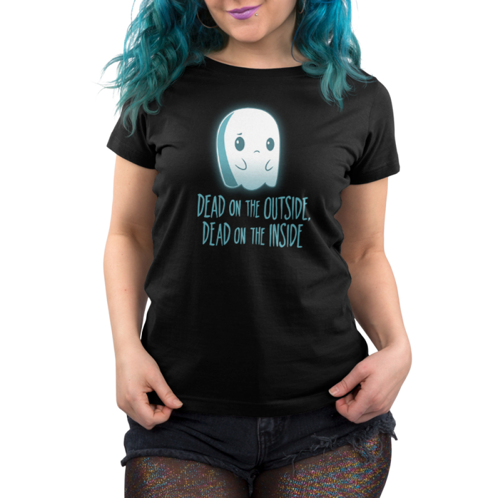 Dead on the Inside Women's t-shirt model TeeTurtle black t-shirt featuring a sad looking ghost