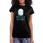 Dead on the Inside Junior's t-shirt model TeeTurtle black t-shirt featuring a sad looking ghost